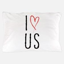 I love us text design with red heart Pillow Case