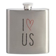 I love us text design with red heart Flask