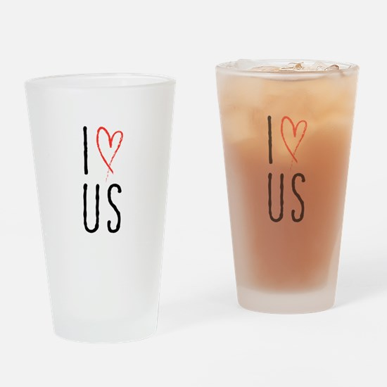 I love us text design with red heart Drinking Glas