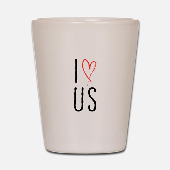 I love us text design with red heart Shot Glass