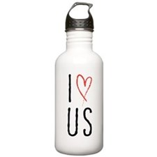 I love us text design with red heart Water Bottle