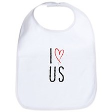 I love us text design with red heart Bib