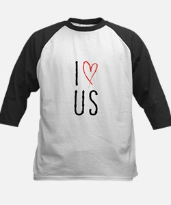 I love us text design with red heart Baseball Jers