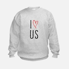 I love us text design with red heart Sweatshirt