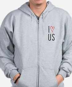 I love us text design with red heart Zip Hoodie