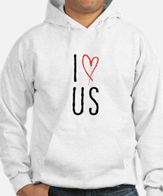 I love us text design with red heart Hoodie