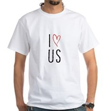 I love us text design with red heart T-Shirt