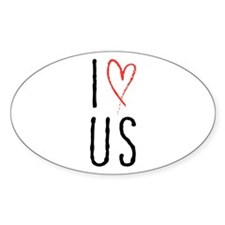 I love us text design with red heart Decal