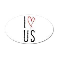 I love us text design with red heart Wall Decal