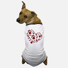 Pawprints Heart (Red) Dog T-Shirt