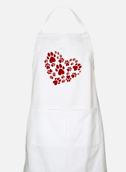 Pawprints Heart (Red) Apron