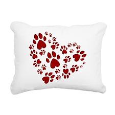 Pawprints Heart (Red) Rectangular Canvas Pillow