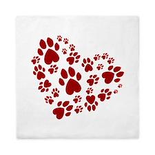 Pawprints Heart (Red) Queen Duvet