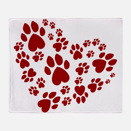 Pawprints Heart (Red) Throw Blanket