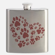 Pawprints Heart (Red) Flask