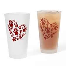 Pawprints Heart (Red) Drinking Glass