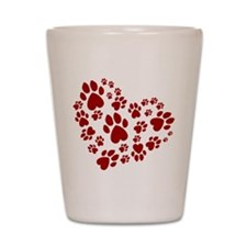 Pawprints Heart (Red) Shot Glass