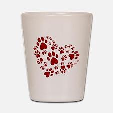 Pawprints Heart (Red) Shot Glass