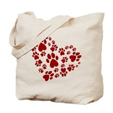 Pawprints Heart (Red) Tote Bag