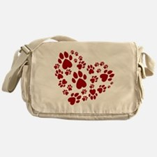 Pawprints Heart (Red) Messenger Bag