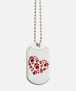 Pawprints Heart (Red) Dog Tags