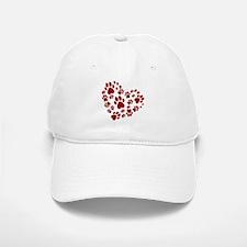 Pawprints Heart (Red) Baseball Baseball Cap