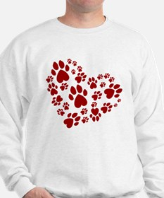 Pawprints Heart (Red) Sweatshirt