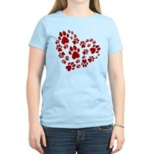 Pawprints Heart (Red) T-Shirt