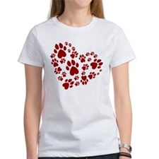 Pawprints Heart (Red) Tee