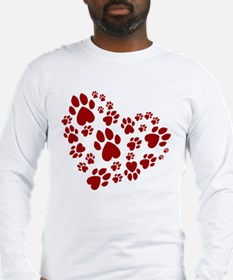 Pawprints Heart (Red) Long Sleeve T-Shirt