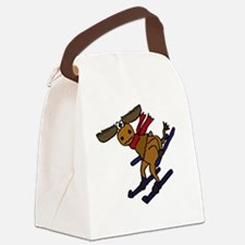 Moose Skiing Canvas Lunch Bag