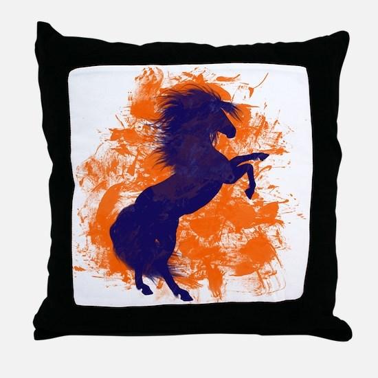 Denver Bucking Broncos Horse Throw Pillow
