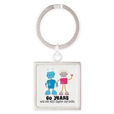 60 Year Anniversary Robot Couple Square Keychain