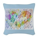 Community Hearts Color Woven Throw Pillow