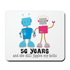56 Year Anniversary Robot Couple Mousepad