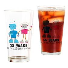 55 Year Anniversary Robot Couple Drinking Glass