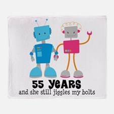 55 Year Anniversary Robot Couple Throw Blanket