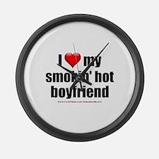"""Love My Smokin' Hot Boyfriend"" Large Wall Clock"