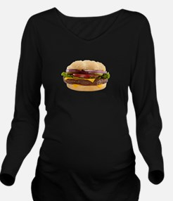 Big Yummy Burger Long Sleeve Maternity T-Shirt