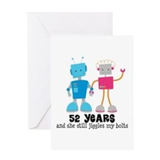 52 Year Anniversary Robot Couple Greeting Card