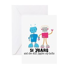 51 Year Anniversary Robot Couple Greeting Card