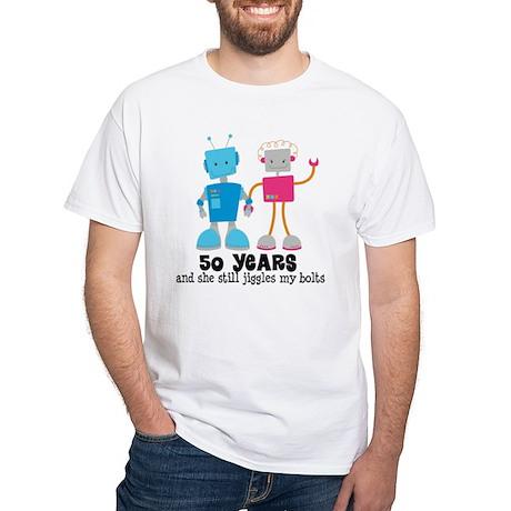 50 Year Anniversary Robot Couple White T-Shirt