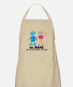 50 Year Anniversary Robot Couple Apron