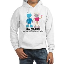 40 Year Anniversary Robot Couple Jumper Hoody