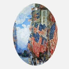 The Fourth of July by Childe Hassam Oval Ornament
