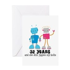 32 Year Anniversary Robot Couple Greeting Card