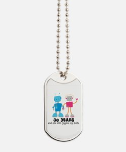 30 Year Anniversary Robot Couple Dog Tags