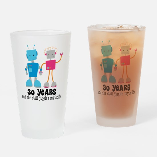 30 Year Anniversary Robot Couple Drinking Glass