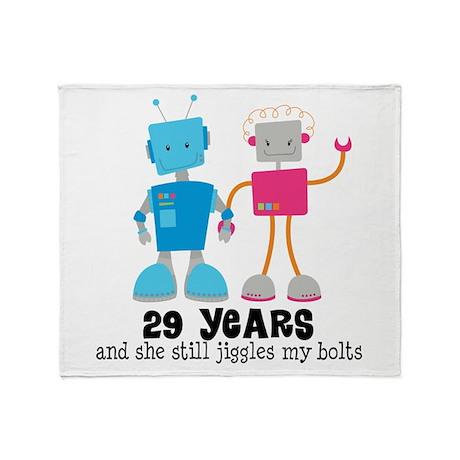29 Year Anniversary Robot Couple Throw Blanket