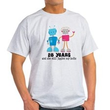 28 Year Anniversary Robot Couple T-Shirt